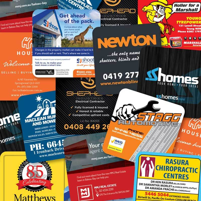 Large selection of drink coasters for advertising businesses