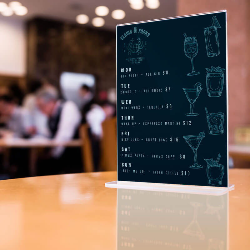 Custom bar drink specials menu