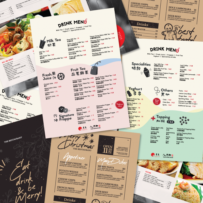 A pile of polymer menus