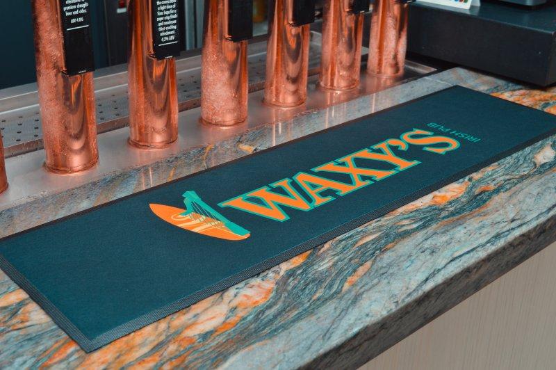 Waxy's Irish Pub Printed Bar Runner on Microfibre