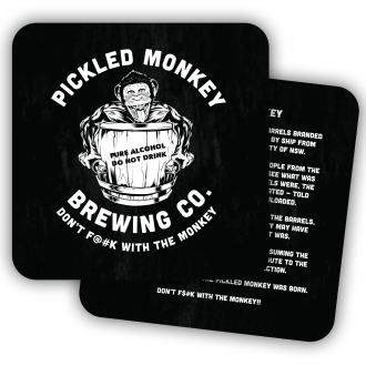 Pickled Monkey brewing Co Double Sided Printed Square Drink Coasters