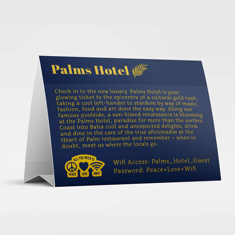 Custom Printed Tent Card for Hotel Business