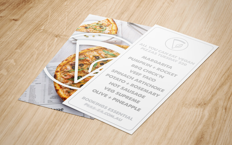 Custom printed DL Skinny Double sided menu flyer for pizza shop