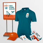 advertising promotional kit with digital printed poster, tent card, drink coasters, shirt, hat and stubby cooler