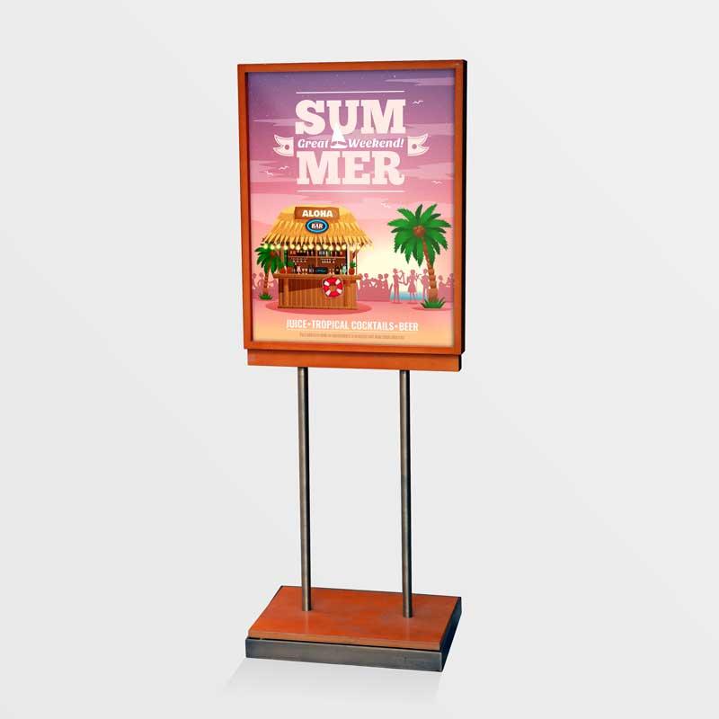 Custom printed digital poster in poster display stand