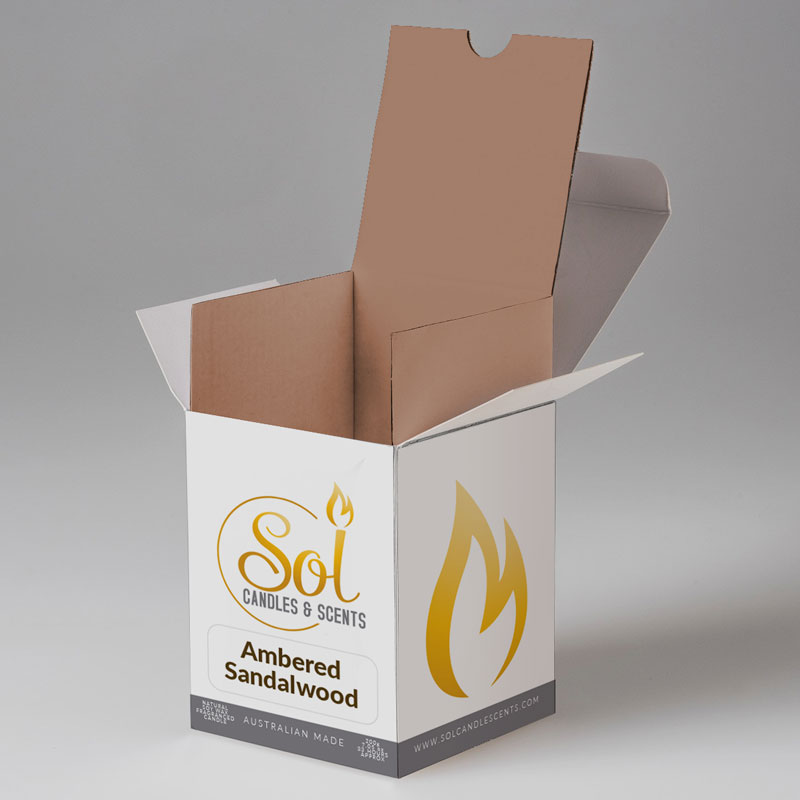Sol Candles & Scents Custom Printed Candle Box with protective insert