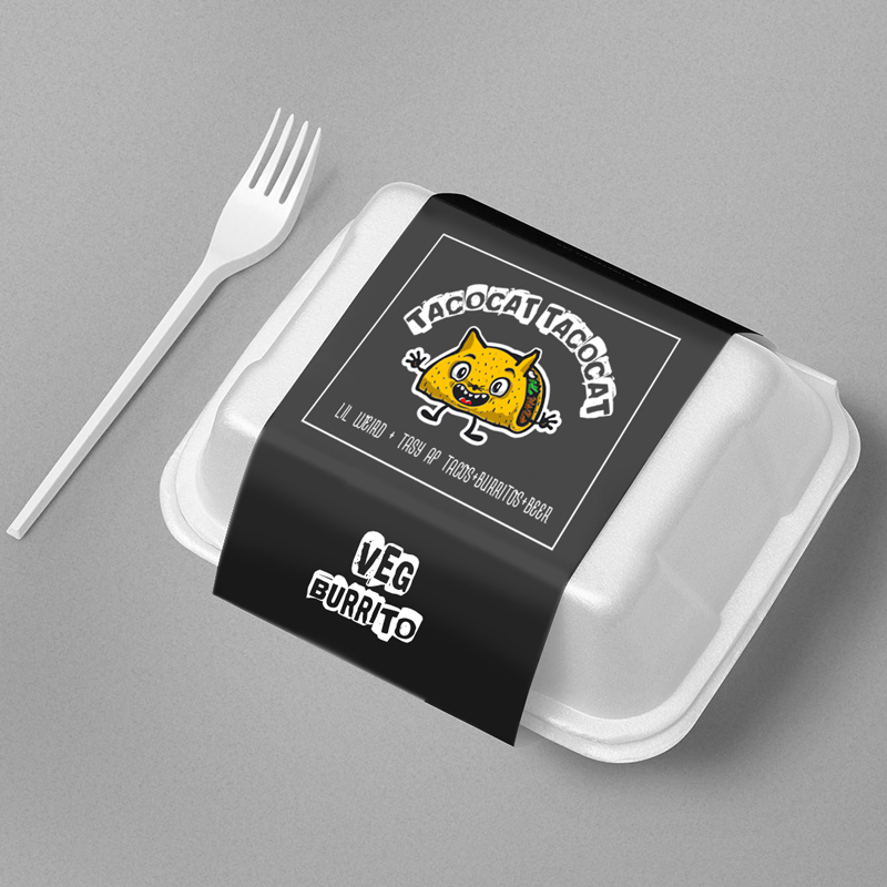 Large Takeaway Container Cardboard Slip Wrapper