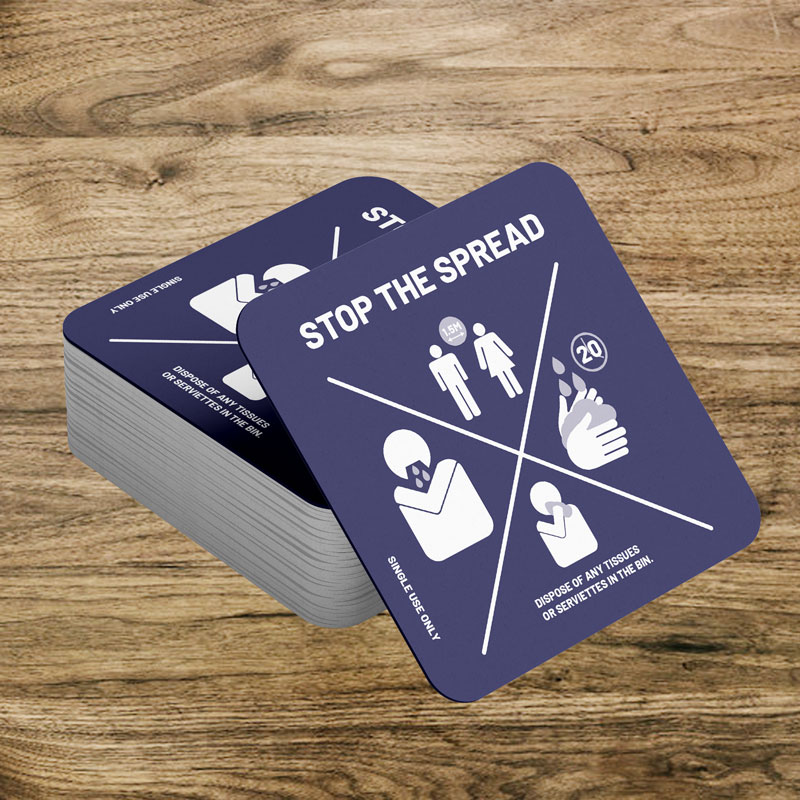 Single use drink coasters Stop the spread
