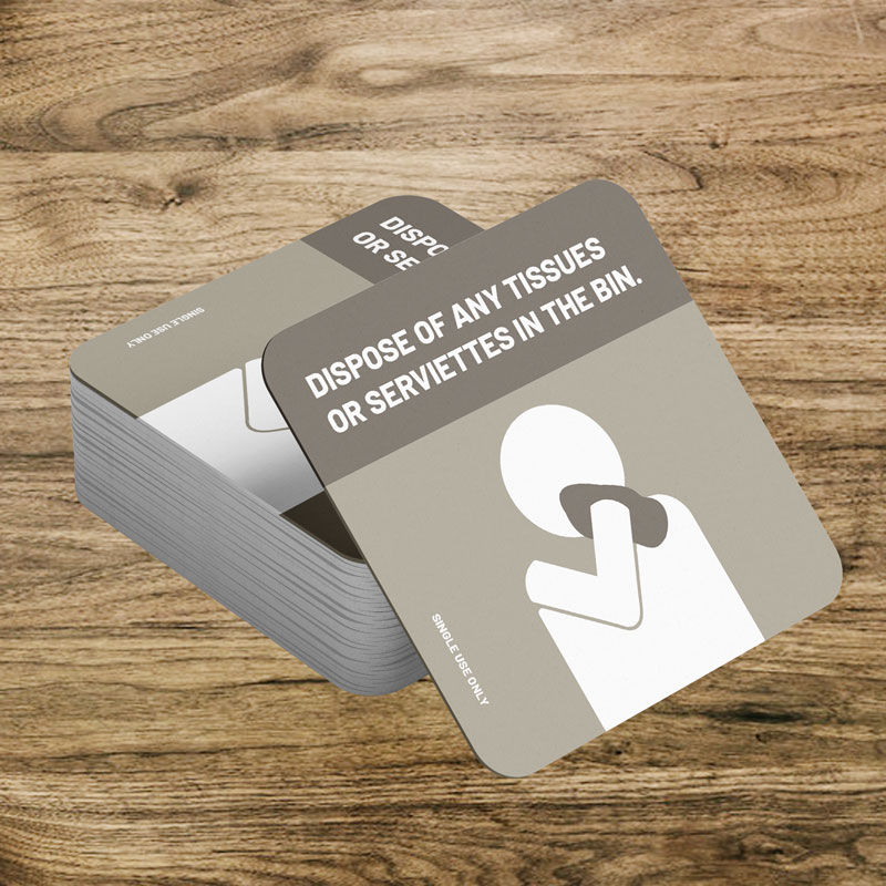 Single use drink coasters dispose of any tissues or serviettes in the bin