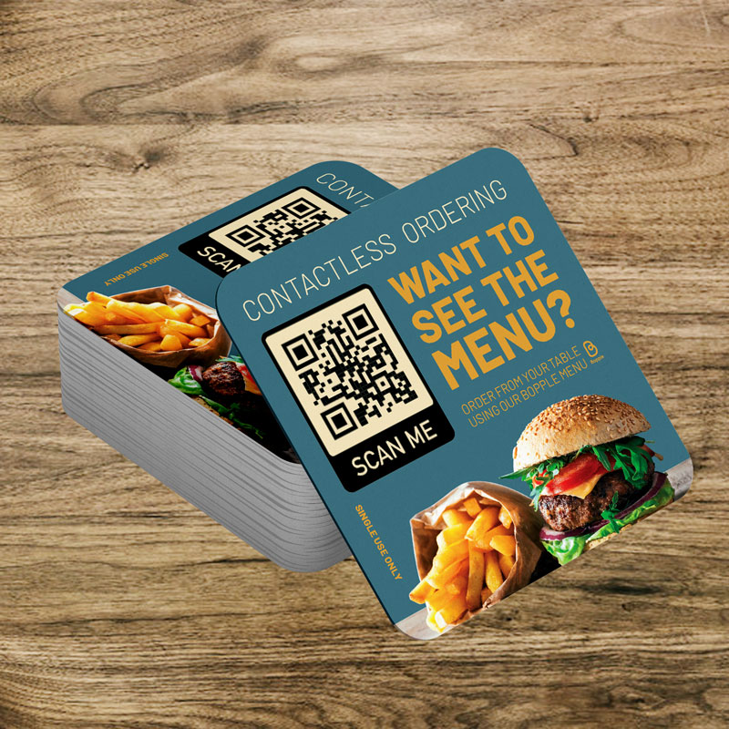 Single Use Scan for Menu Drink Coasters