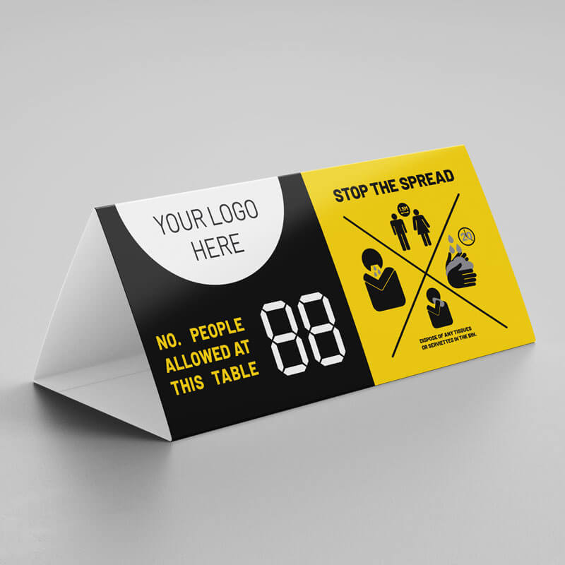 Stop the spread social distancing table display tent card