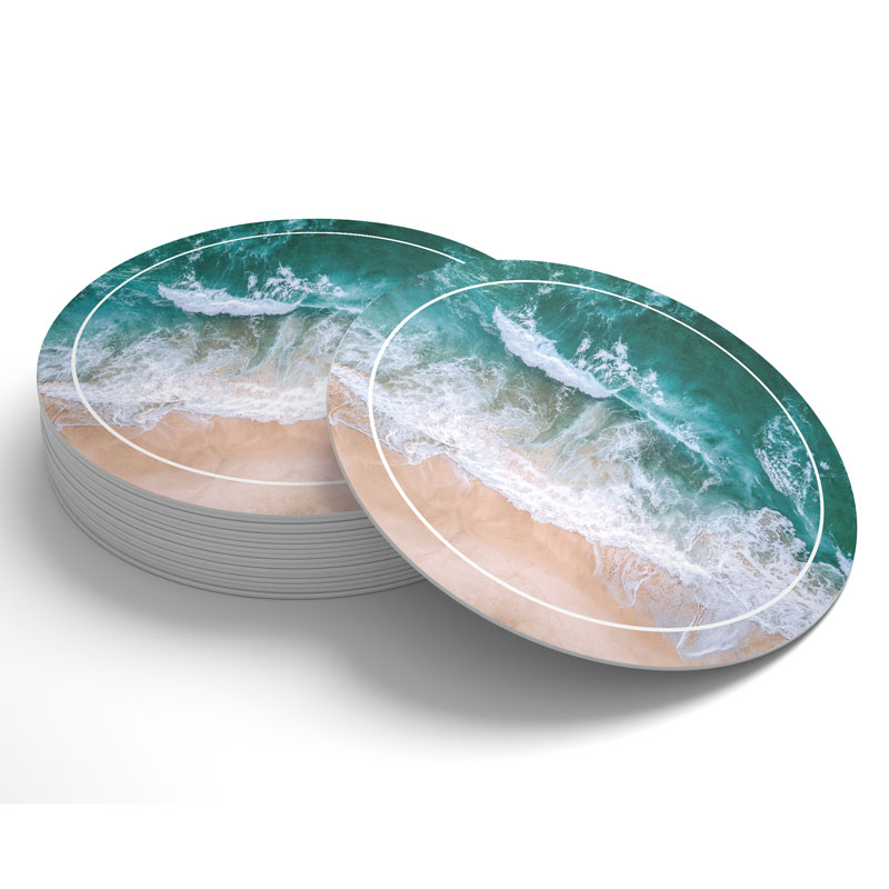 Stock Drink Coasters, Premade coasters with ocean wavesdesign