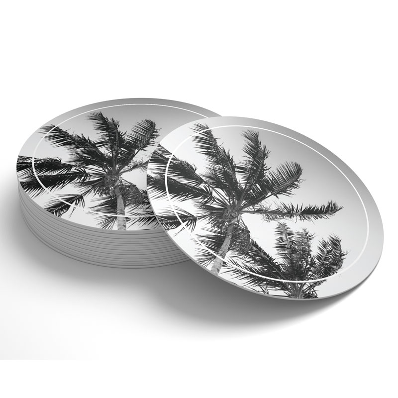 Stock Drink Coasters, Premade coasters with palm treedesign